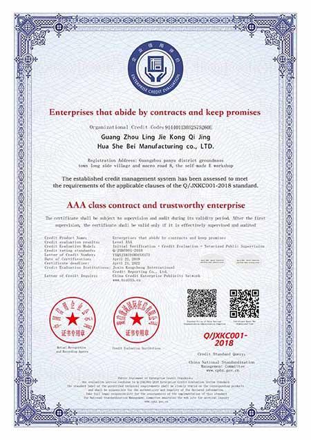 AAA级重合同守信用企业